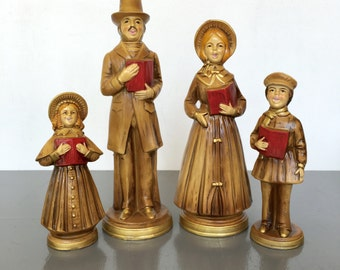 vintage paper mache Christmas Carolers holiday decor set of 4