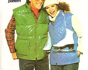 Simplicity 8123 Vintage 1970s Unisex Quilted Winter Vest Sewing Pattern