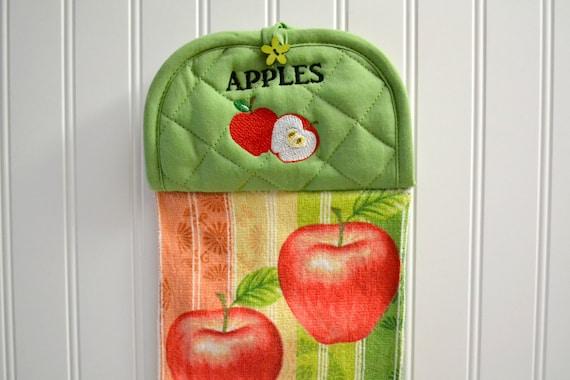 Apple kitchen towel d cor green kitchen apple d cor hand - Green apple kitchen decor ...