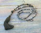 Beautiful jasper gemstone mala necklace