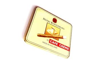 Henri Wintermans Cigar Tin empty Cafe Creme vintage tobacciana cigars metal box decoration smoking