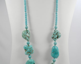 "Chunky Turquoise Howlite Beaded Necklace with Silvertone Finishes - 24"" length"