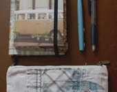 Boro inspired hand stitched recycled linen pen/pencil zip pouch