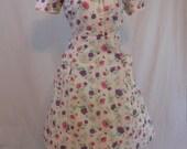 "Vintage 60s Pink & Purple Floral Print Cotton Shirtwaist Day Dress 38"" Waist"
