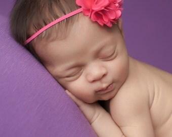 Hot Pink Headband, Hot Pink Baby Headband, Newborn Headbands, Baby Headbands, Hot Pink Newborn Headbands, Photography Prop