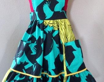 Women Apron/ Full skirt apron/ Yellow Floral Black Teal/ Decor apron/ Kitchen apron