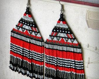 Large  beaded earrings, seed bead earrings, beaded jewelry, beadwoven earrings, boho earrings, statement earrings, large beadwoven earrings