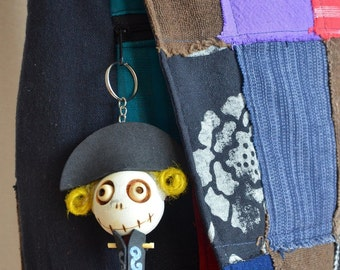 Pirate Captain Wooden Voodoo Doll Handmade Skull Keychain Keyring String Dolls For Gift Toy Keychains