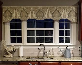 "Custom Wide Width Valance CASEY Hidden Rod Pocket® Valance, fits 79"" - 110"" window, made using your fabrics, my LABOR and lining"