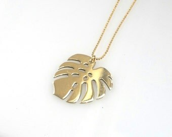 Gold Monstera Leaf pendant