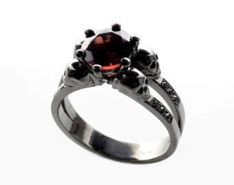 skull engagement ringblack skull ringgoth wedding ringmemento morimorbid