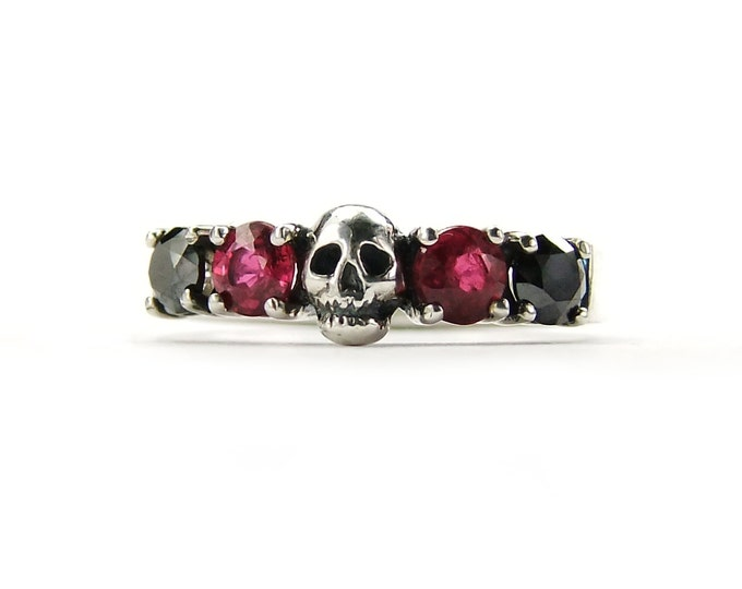 Skull Wedding Ring Black Diamond and Red Ruby Sterling Engagement Ring Goth Psychobilly Wedding Band Wedding Set Jewel Ring All Sizes
