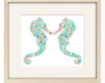 seahorse bathroom art print, nautical bathroom decor, kids bathroom decor, beach house decor,seahorse print, fish art, bathroom wall decor