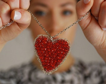 Girlfriend gift. Valentines day Long Crochet Heart necklace. Bohemian Red heart pendant. Lovers anniversary. wire and thread crochet pendant