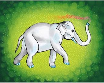 Elephant Art Elephant Print Elephant Illustration Animal Art Animal Print Animal Illustration Whimsical Cute Green Lime Emerald Bubbles