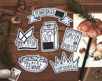 Vegan Sticker Pack | 6 Handmade Stickers | Tofu, Soy Milk, Daiya Cheese, Falafel Femme, Plant Based Banner | Animal Rights, Laptop Stickers