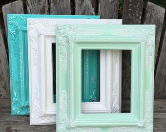 Baroque Picture Frame,Turquoise,Mint,White,8x10, 11x14, Wedding Frame, Chunky Frame,Ornate Wedding Frame,Nursery,Photo Prop #SC(Los Angeles)