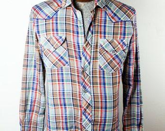 1970s Era Ramrod Brand Western Wear Mens Plaid Cowboy Shirt Metal Buttons