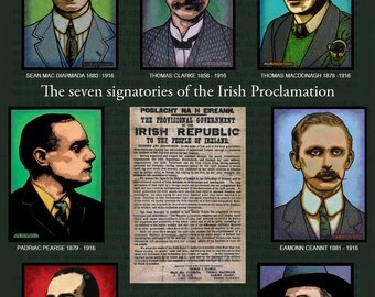 The Seven Signatories of the Irish Proclamation Set + Free Print of the Irish Proclamation. By Jim FitzPatrick. Ireland, Easter Rising, 1916