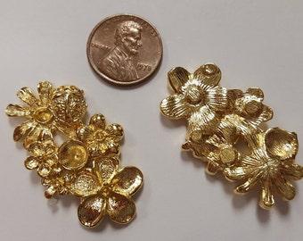 1 Gold Floral Ladybug 23x40mm Unset Rhinestone Setting Cabochon Finding R724