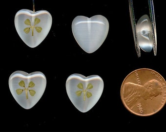1 Vintage Genuine Real 4 Leaf Lucky Clover 15mm. Glass White Cats Eye Heart 1/2 Drilled Bead Pendant R489