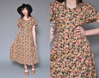 90s Hippie Dress Flutter Sleeve Maxi Dress M Floral Printed Button Up Dress Short Sleeve DITSY Grunge Boho REVIVAL Festival Sun Dress