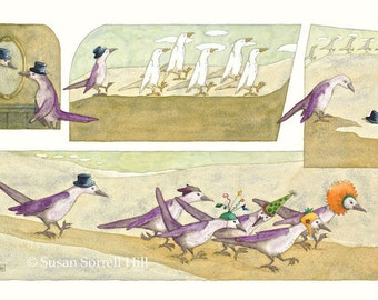 The Right Crowd - original watercolor painting - surreal fantasy fairytale watercolour - marching birds - party hats- illustration