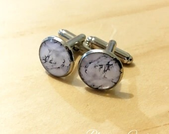 Marble Resin Silver Cuff Links