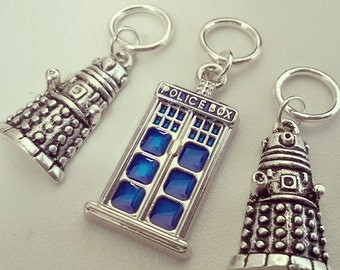 Set of 3 Doctor Who Tardis and Daleks Handmade Stitch Markers
