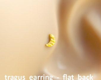 Tragus earrings, Moon tragus earring, tragus 16G, tragus BioFlex, tragus piercing, labret piercing,tragus earring flat back,trgus gold