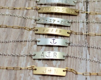 Personalized Bar Bracelet, Small Bar Name Bracelet, Bracelet with Date, Couples Bracelet, Hand Stamped, Sterling Silver, 14K Gold Filled