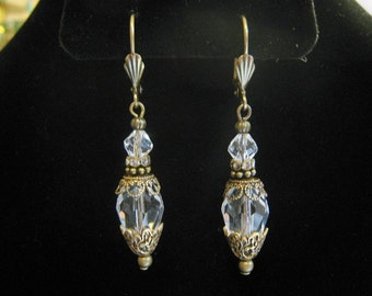 Victorian Edwardian Vintage Style Clear Crystal Faceted Glass Bead Dangle Earrings Antique Brass filigree Milgrain Ornate Lever Back