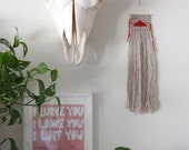 Oatmeal and red Mini Weaving Wall Hanging / Hand woven tapestry