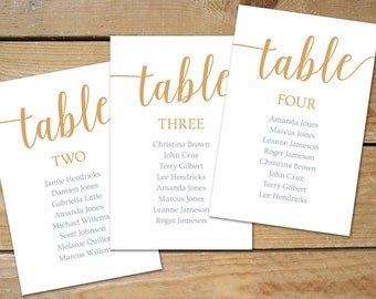 Caramel Gold Seating Chart Template // Instant Download Editable Seating Cards, DIY Seating Chart Printable // Caramel Gold Wedding Decor