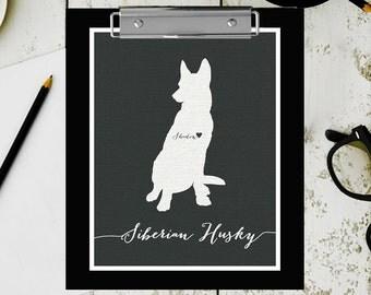 I love my dog, Siberian Husky, personalized dog name,  home decoration poster, digital artwork print, modern decor dog lover