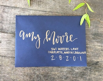 Copper and Navy Calligraphy Envelope Addressing