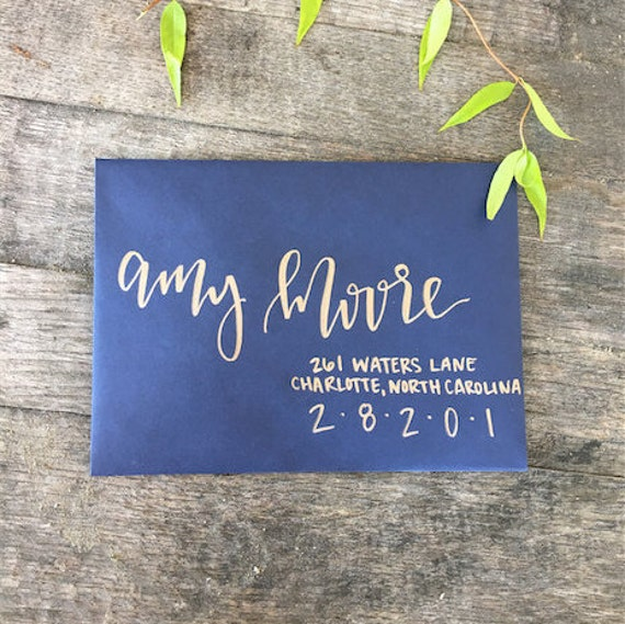 Copper And Navy Calligraphy Envelope By AntlersandPeonies