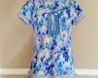 Upcycled Bohemian Indigo tye dyed tshirt tunic dress, recycled beach cover up festival clothing