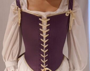 Elizabethan Renaissance Stays Corset Silk Satin Effigy Corset for Period Costume LARP Historical Reenactment Custom Made