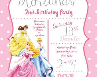 Disney Princess birthday invitations printable