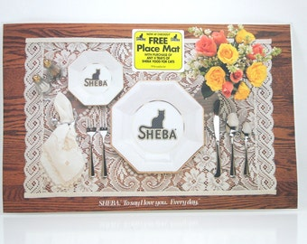 Vintage Sheba Canned Cat Food Placemats - Set of 4