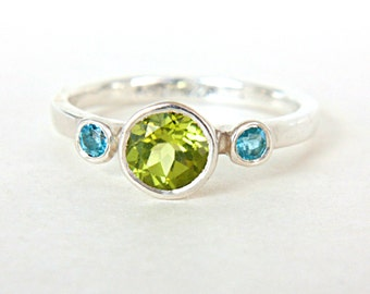Peridot & Blue Topaz Ring Triple Stone Ring Sterling Silver Promise Ring Peridot Engagement Ring August Birthstone Ring Size 7.5US