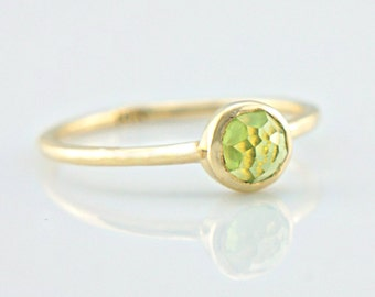 Peridot Gold Ring 14k Yellow Gold Rose Cut Peridot Gold Ring Made in Your Size Alternative Engagement Ring Peridot Engagement Ring