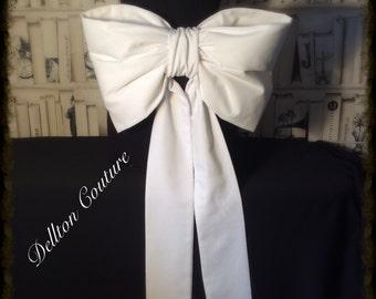 Large Ivory Taffeta Bridal Sash Bow