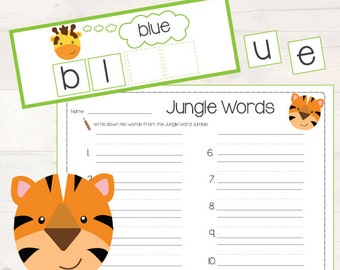 Jungle Sight Word Jumble! Pre-Primer Dolch Sight Word Matching Game AUTOMATIC DOWNLOAD