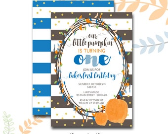 Pumpkin 1st Birthday Invitation, Boy's First Birthday, Little Pumpkin, Fall Birthday, Pumpkin, Orange and Blue, Printed or Printable