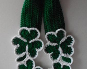 Shamrock Scarf - St Patricks Day Scarf - Fun Green Scarf - Irish Scarf - Handmade Crochet - Made to Order