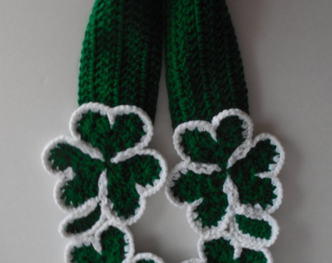 Shamrock Scarf - St Patricks Day Scarf - Fun Green Scarf - Irish Scarf - Handmade Crochet - Made to Order