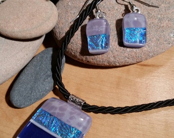 "17-20"" Purple, Pink, Aqua Mix Fused Dichroic Glass Pendant Necklace and Earrings - FG-003"