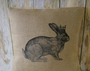 "Queen Bunny - 16"" Hessian Jute burlap cushion/pillow cover shabby chic country UK handmade"